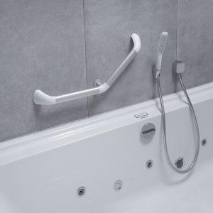 SecuCare zilverkleurige wandbeugel met afdekkappen in mat wit 45° gehoekt 30 x 30 cm