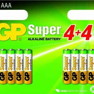 Voordelig multipack met 8 stuks duurzame GP batterijen (AAA).